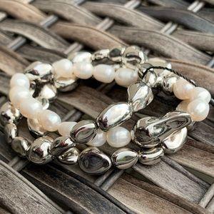 WHBM Set 3 Fresh Water Pearl & Silver Bracelets